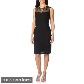 R & M Richards Women's Mixed Media Mesh Embellished Dress