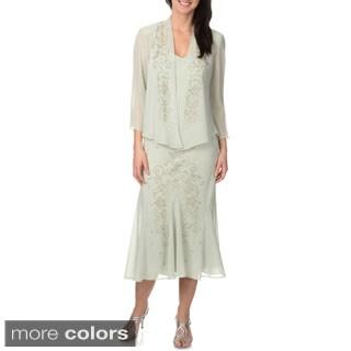 R & M Richards Women's Beaded Embellished 2-piece Dress Set