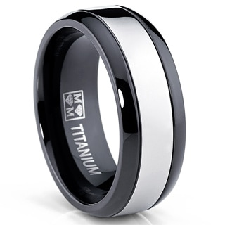Oliveti Men's Black and White Plated Titanium Comfort Fit Band Ring