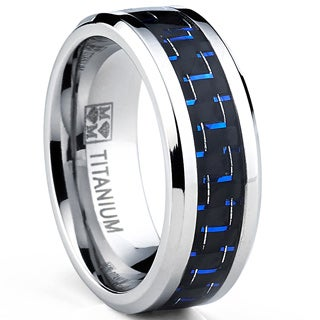 Oliveti Men's Black Plated Titanium Black and Blue Carbon Fiber Comfort Fit Ring