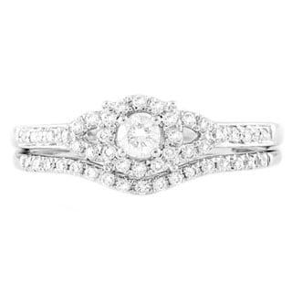 Beverly Hills Charm 14k White Gold 1/3ct TDW Bridal Halo Engagement Ring Set (H-I, SI2-I1)