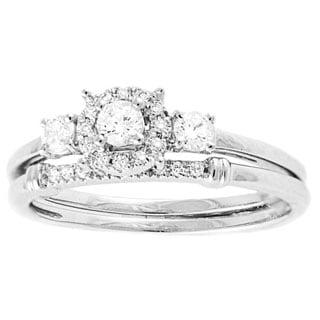 Beverly Hills Charm 14k White Gold 1/3ct TDW Halo 3-stone Bridal Ring Set (H-I, SI2-I1)