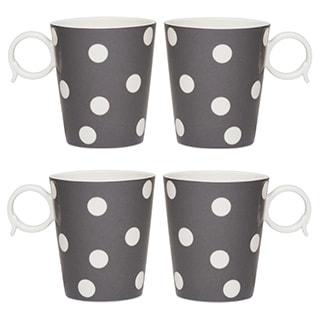 Freshness Mix & Match Grey Dots 12-ounce Mugs (Set of 4)