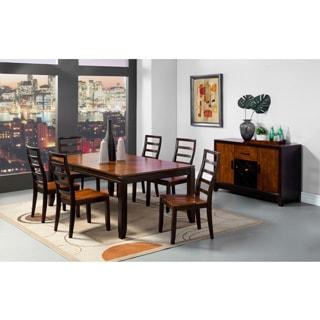 Furniture of America 'Isa' Acacia/ Espresso 7-piece Extending Dining Set