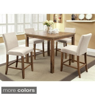 Furniture of America Seline Weathered Elm 5-piece 42-inch Table Counter Height Dining Set