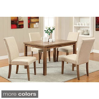 Furniture of America Seline Weathered Elm 5-piece 48-inch Table Dining Set