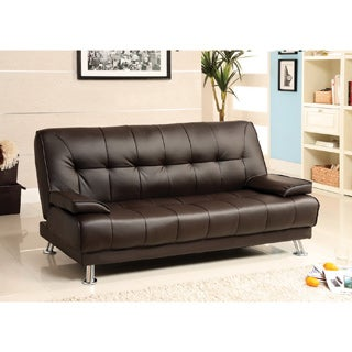 Furniture of America Nicholas Enzo Contemporary Dark Brown Tufted Leatherette Futon Sofa