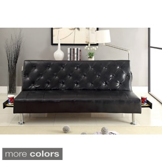 Furniture of America Enzhell Contemporary Tufted Leatherette Futon Sofa with Hidden Tray