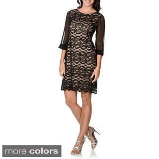 R & M Richards Women's Sequin-embellished Lace Dress
