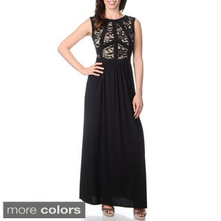 R & M Richards Women's Lace Mapped-bodice Long Dress