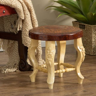 Hand-Crafted Brown Leather Mini Stool (India)