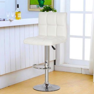 White/ Chrome Adjustable Bar Stools (Set of 2)