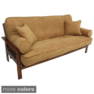 Blazing Needles Full Size 9-inch Futon Set with Microsuede Cover and Pillows and Oaktown Frame