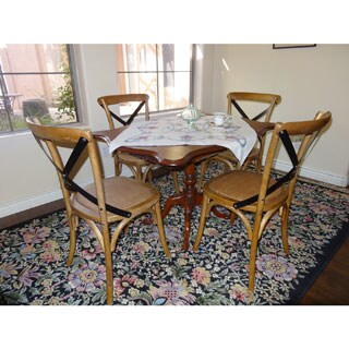 Elm Wood Rattan Antique Bistro Dining Chair (Set of 2)