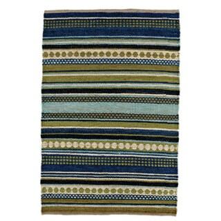 Hand-woven Sindhi Blue Stripe Jute Area Rug (8' x 11')