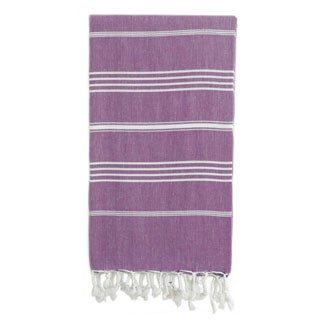 Authentic Pestemal Fouta Original Purple/ White Stripe Turkish Cotton Bath/ Beach Towel