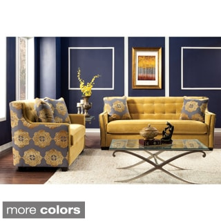 Lapovo 2-piece Living Room Set Upholstered in Premium Damask Fabric