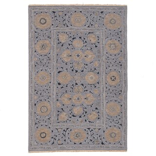 Hand-woven Indo Suzani Floral Grey Wool Area Rug (3' x 5')