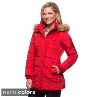 Tommy Hilfiger Faux Down Box Quilt And Faux Fur Hooded Coat