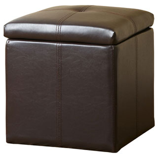 ABBYSON LIVING Dark Brown Parker Storage Bonded Leather Tufted Ottoman