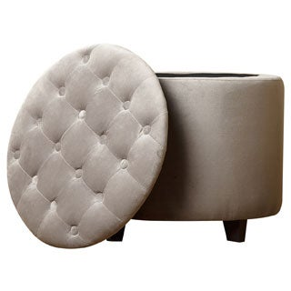 Abbyson Living Grey Avery Tufted Lid Top Storage Ottoman