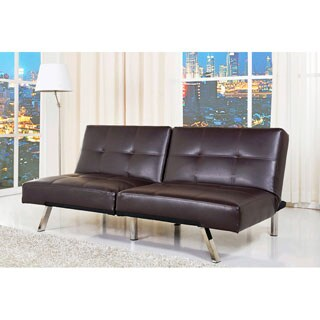 Abbyson Living Dark Brown Aspen Leather Convertible Sofa