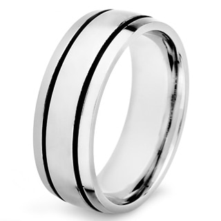 Stainless Steel Men's Dual Black Striped Dome Ring (8 mm)