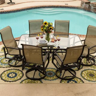 Acadia 7-piece Sling Glass Top Table Dining Set