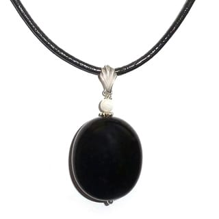 Every Morning Design Black Onyx and Mother of Pearl Black Leather Cord Necklace