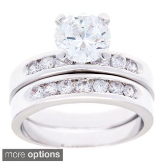 Simon Frank Silvertone Round CZ Bridal Inspired Ring Set