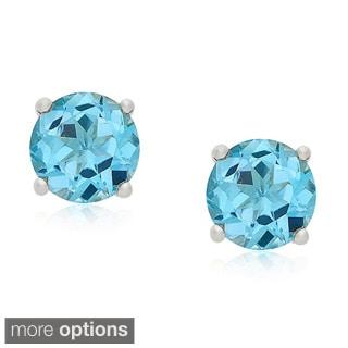 Dolce Giavonna Sterling Silver Gemstone Birthstone Stud Earrings