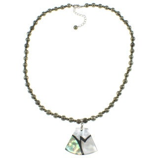 Pearlz Ocean Abalone/ White Shell and Pyrite Bead Necklace