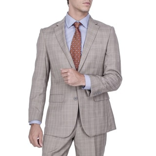 Men's Modern Fit Tan Plaid 2-button Suit with Pleated Pants