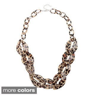 Alexa Starr Animal Print Lucite Twisted Link Necklace
