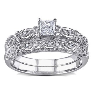 Miadora 10k White Gold 1/3ct TDW Princess and Round-cut Diamond Vintage Bridal Engagement Ring Stackable Set (G-H, I1-I2)