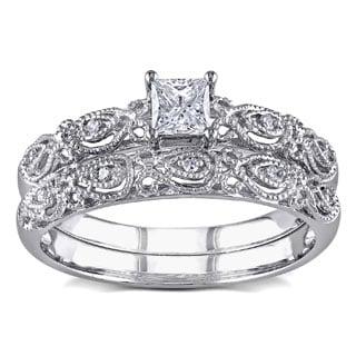 Miadora 10k White Gold 1/3ct TDW Princess and Round-cut Diamond Vintage Bridal Engagement Ring Stackable Set (G-H, I1-I2)