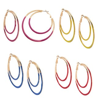 Alexa Starr Two-sided Epoxy Double Hoop Earrings (Set of 4)