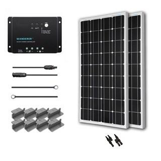 Renogy Solar Starter Kit: 200W Monocrystalline 12V Sol Panel/ 20' Ad Kit/ 30A Chg Con/ MC4 Br Conn/ Z Br
