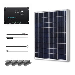 Renogy Solar Panel Starter Kit 100W with 100W Poly Solar Panel/ 20' Ad Kit/ 30A Charge Controller/ Z Br