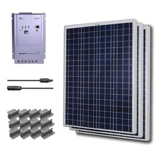 Renogy Premium Solar Panel Kit 300W with 3 100W Poly Panel/ 20 ft. Adapter Kit/ 40A MPPT Controller/ Z Bracket