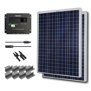 Solar Panel Starter Kit 200W with 2 100W Poly Solar Pan/ 20' Ad Kit/ 30A Chg Con/ MC4 Br Conn/ Z Br