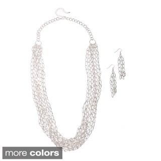 Alexa Starr Multi-Strand Chain and Tassel Drop Earrings Jewelry Set