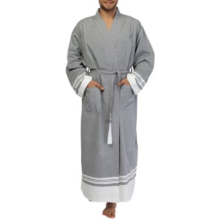 Unisex Grey Super Luxe Turkish Cotton Pestemal Large/ XL Bathrobe