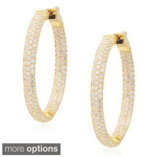 Journee Collection Brass Cubic Zirconia Hoop Earrings