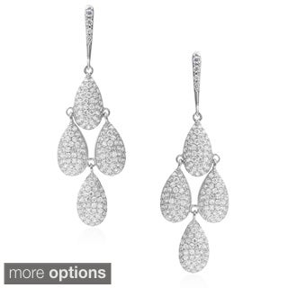 Journee Collection Brass Cubic Zirconia Chandelier Earrings