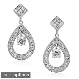 Journee Collection Brass Cubic Zirconia Tear-drop Dangle Earrings