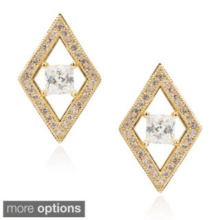 Journee Collection Brass Cubic Zirconia Stud Earrings
