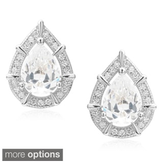 Journee Collection Brass Cubic Zirconia Tear-drop Stud Earrings