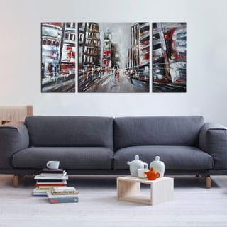Hand-painted 'Through The City' 3-piece Gallery-wrapped Canvas Art Set