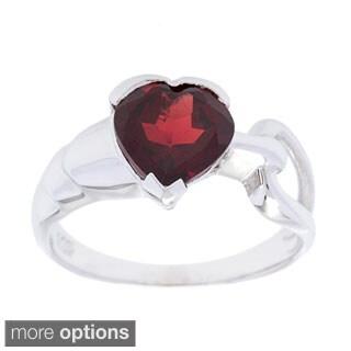 Oravo Sterling Silver Heart-cut Gemstone Ring